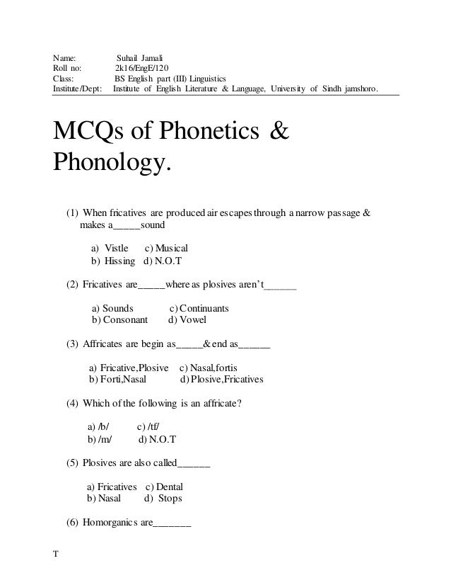 Phonetics and Phonology MCQS