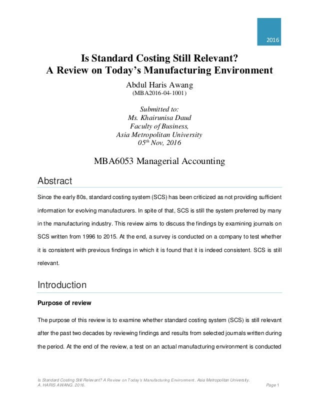 Is standard costing still relevant? Evidence from Dubai.