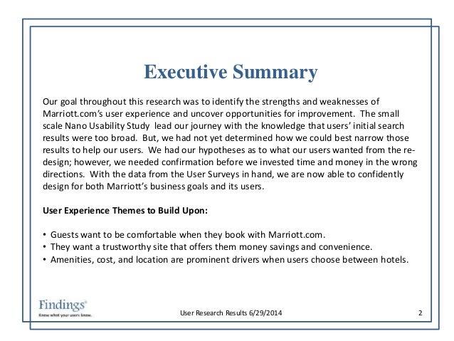 Marriott Hotel Executive Summary