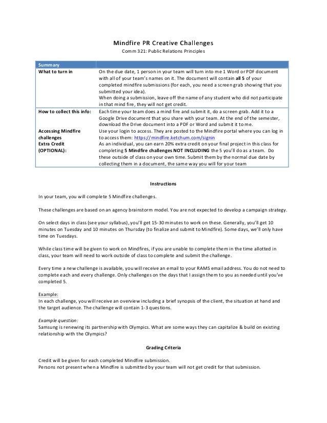 MindMindffireirePRCreativePRCreativeChallengesChallenges Comm321:PublicRelationsPrinciples  Summary  What...