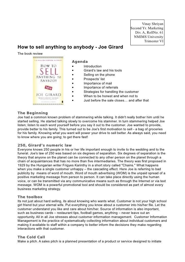 How to sell anything to anybody - Joe Girard