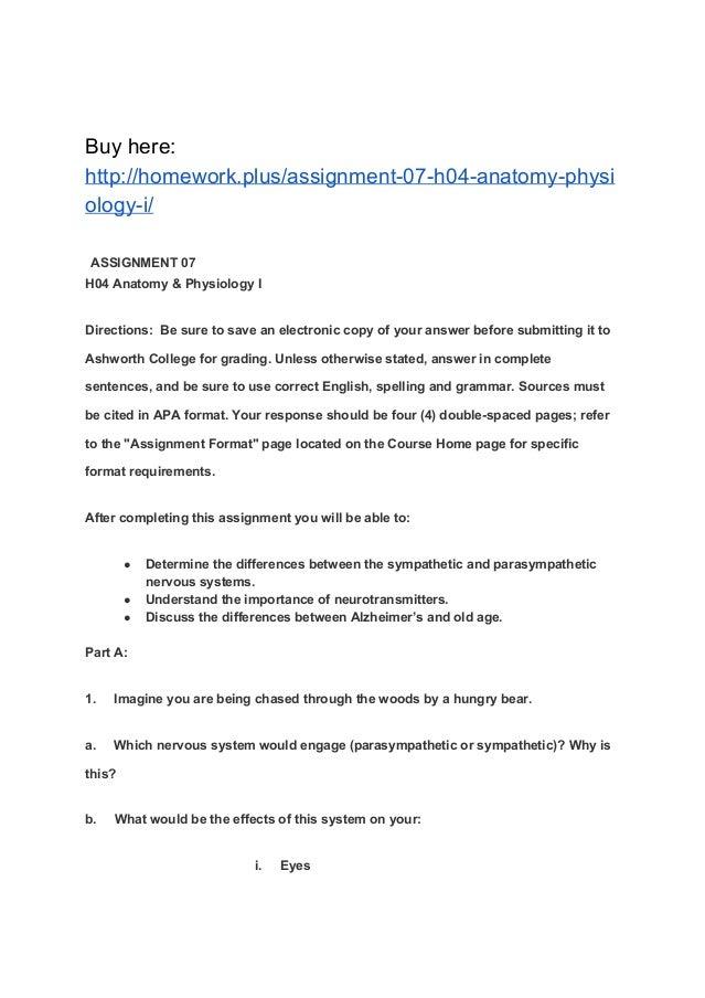 Großzügig Anatomy And Physiology Assignments Fotos - Menschliche ...