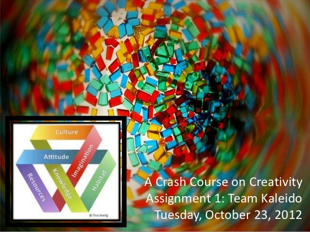 A Crash Course on CreativityAssignment 1: Team Kaleido  Tuesday, October 23, 2012