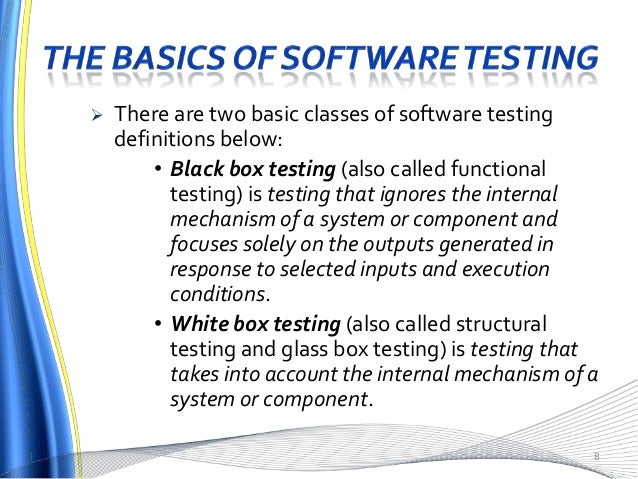 Types of Software testing and definitions of testing terms