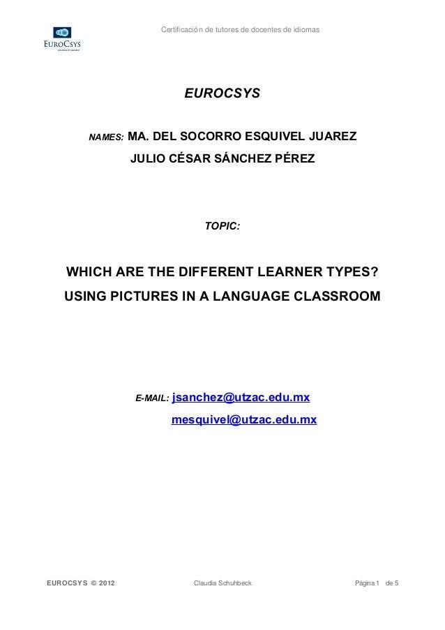 Certificación de tutores de docentes de idiomas                              EUROCSYS         NAMES:   MA. DEL SOCORRO ESQ...