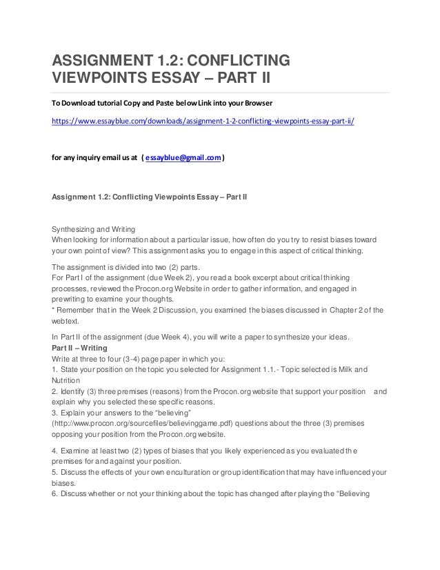 assignment conflicting viewpoints essay part ii assignment 1 2 conflicting viewpoints essay part ii to tutorial copy and paste belowlink