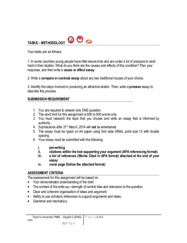semester 1 english writing brief essay question individual