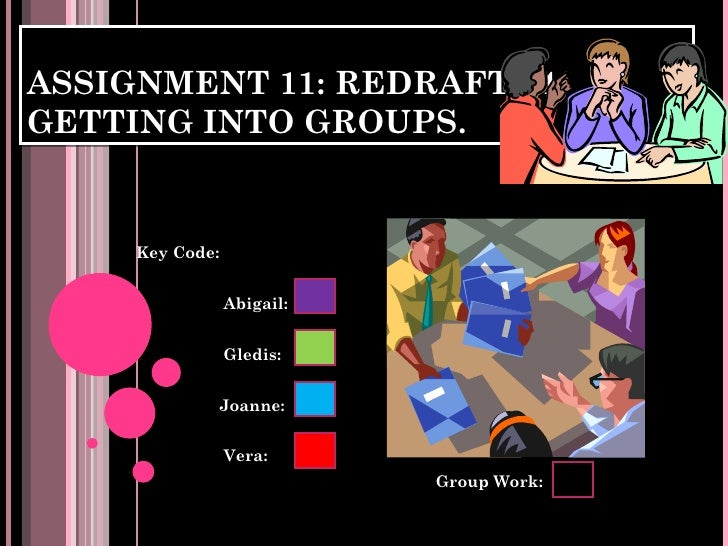ASSIGNMENT 11: REDRAFT #4.GETTING INTO GROUPS.     Key Code:                 Abigail:                 Gledis:             ...