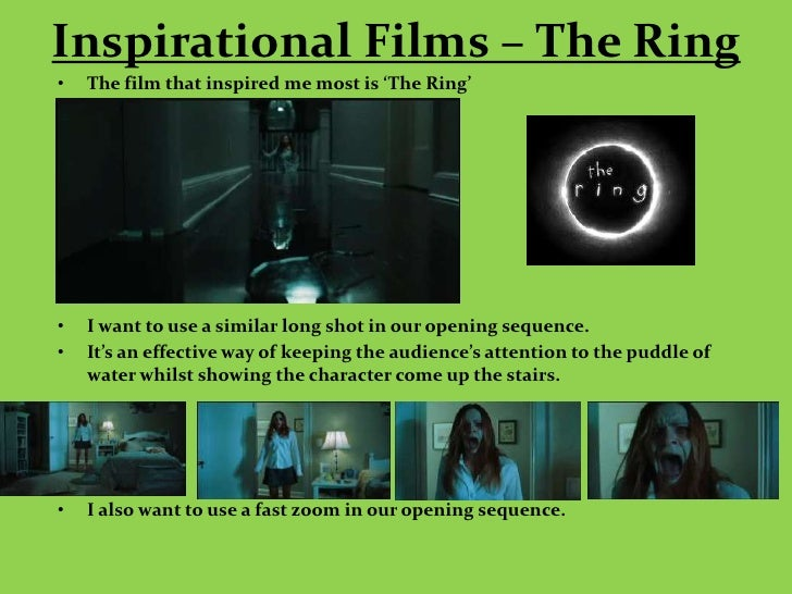 Inspirational Films – The Ring•   The film that inspired me most is 'The Ring'•   I want to use a similar long shot in our...