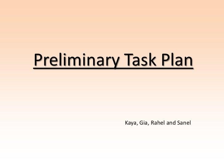 Preliminary Task Plan            Kaya, Gia, Rahel and Sanel