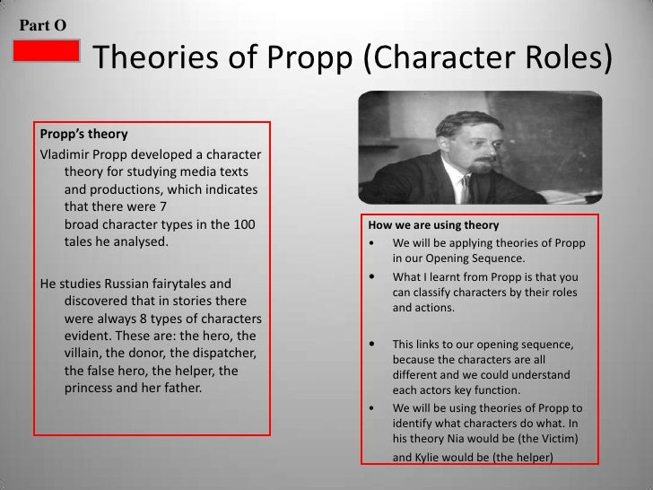 Part O           Theories of Propp (Character Roles)  Propp's theory  Vladimir Propp developed a character      theory for...