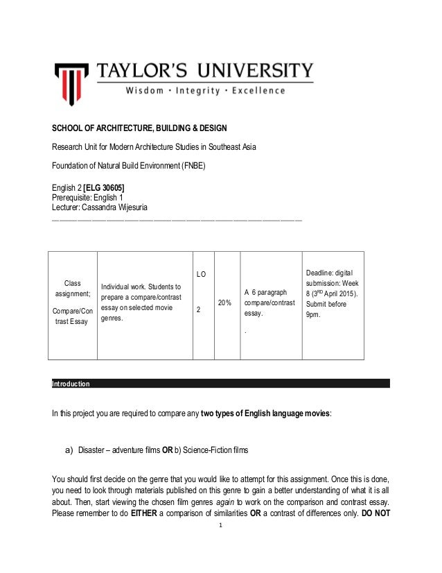 english comparative and contrast essay course outline  contrast essay course outline school of architecture building design research unit for modern architecture studies in southeast asia