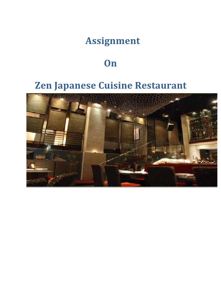 Assignment              OnZen Japanese Cuisine Restaurant