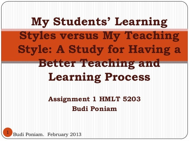 My Students' Learning    Styles versus My Teaching    Style: A Study for Having a       Better Teaching and         Learni...