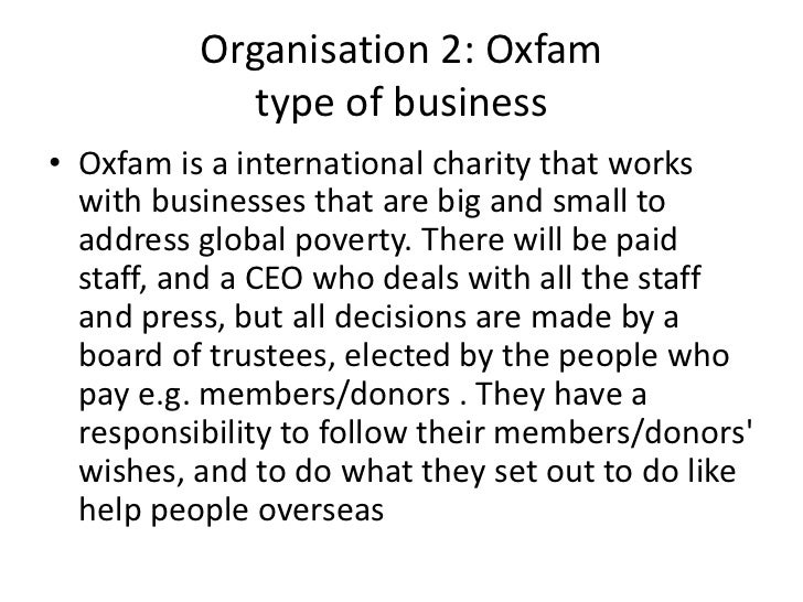 type of organisational structure and purpose of tesco and oxfam essay Organisation structure collaborations manchester cancer research centre funding annual report newsletter scientific advisory board related links.