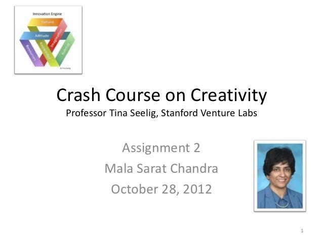 Crash Course on Creativity Professor Tina Seelig, Stanford Venture Labs           Assignment 2         Mala Sarat Chandra ...