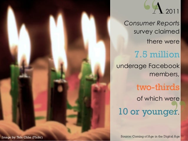 A2011Consumer Reportssurvey claimedthere were7.5 millionunderage Facebookmembers,two-thirdsof which were10 or younger.So...