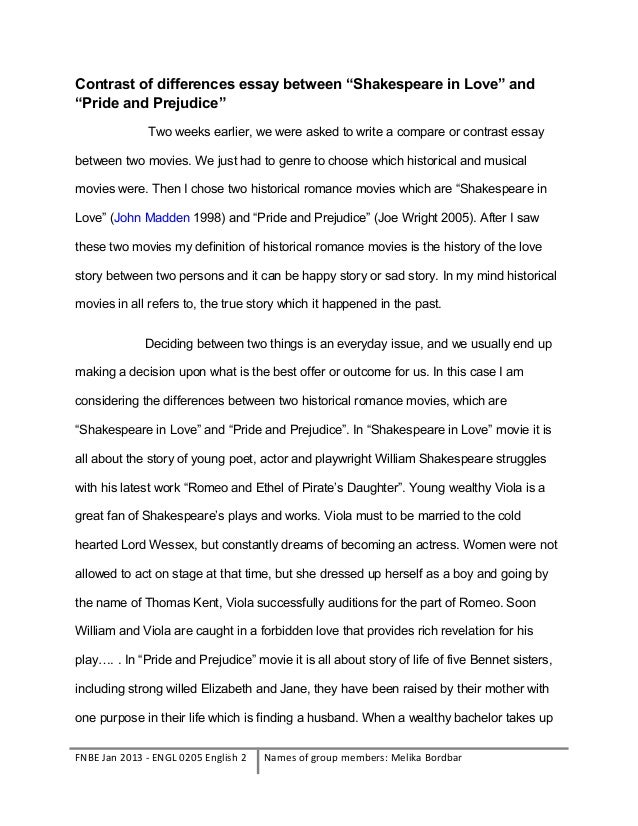 contrast of differences between two historical movies  3 contrast of differences essay between ""