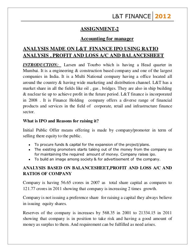 L&T FINANCE 2012                                 ASSIGNMENT-2                                 Accounting for managerANALYS...