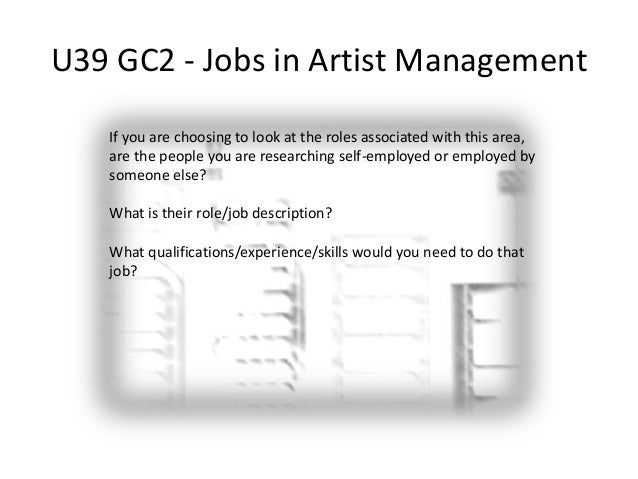 u39 gc2 jobs in artist management 5 artist management job description - Artist Management Jobs