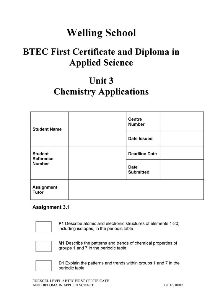 Assignment 31 welling school btec first certificate and diploma in applied science urtaz Choice Image