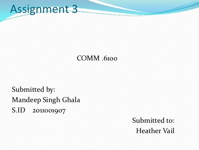 Assignment 3                  COMM .6100Submitted by:Mandeep Singh GhalaS.ID 2011001907                               Subm...