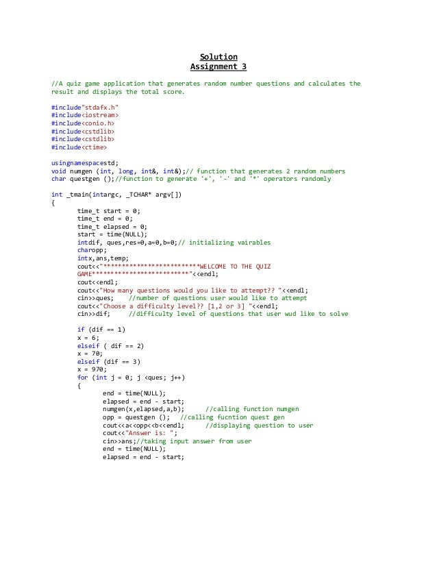 Solution                                     Assignment 3//A quiz game application that generates random number questions ...