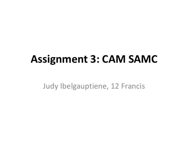 Assignment 3: CAM SAMC Judy Ibelgauptiene, 12 Francis
