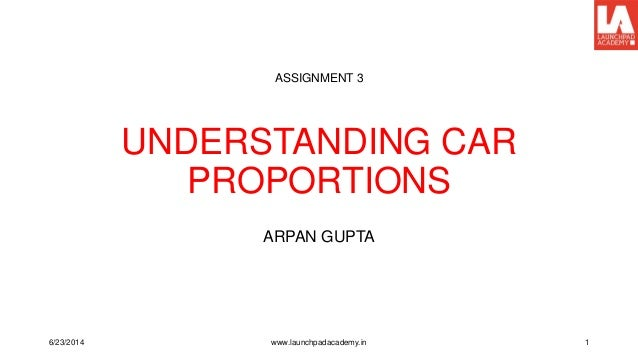 UNDERSTANDING CAR PROPORTIONS ARPAN GUPTA ASSIGNMENT 3 6/23/2014 www.launchpadacademy.in 1