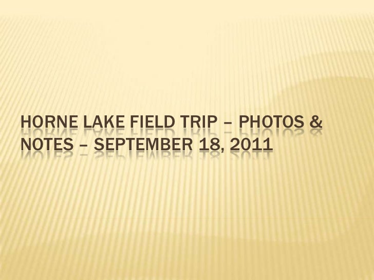HORNE LAKE FIELD TRIP – PHOTOS &NOTES – SEPTEMBER 18, 2011