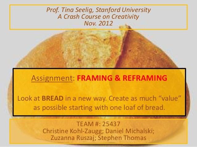 Prof. Tina Seelig, Stanford University            A Crash Course on Creativity                      Nov. 2012    Assignmen...