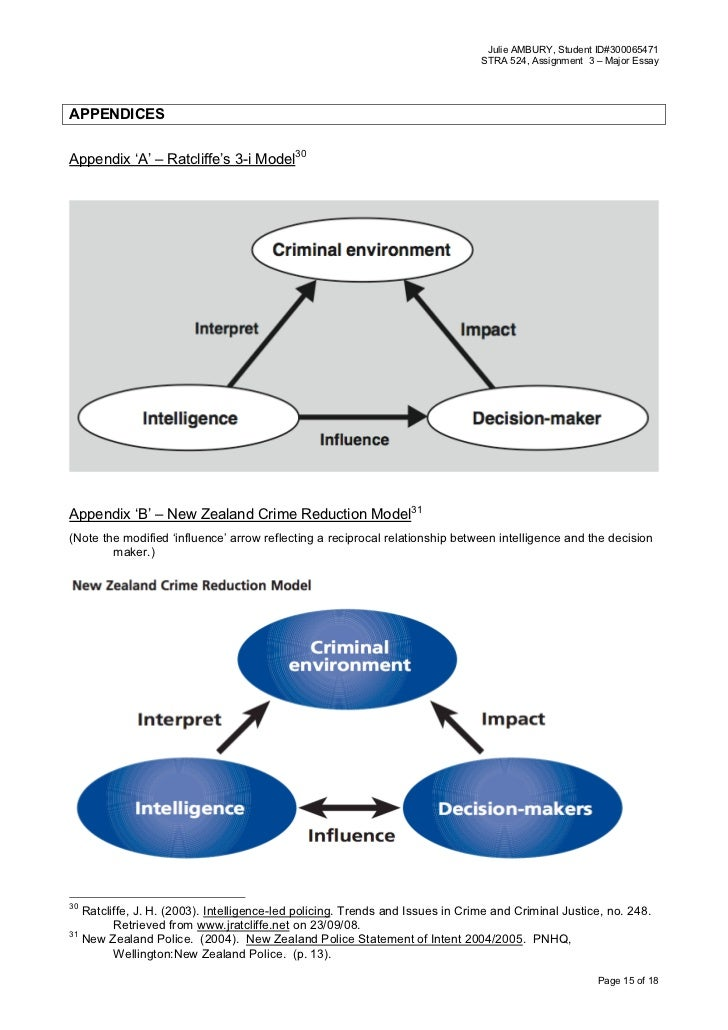 intelligence led policing essay 'intelligence led policing or policing led intelligence'  integrating volume crime analysis into policing nina cope this paper  explores the.
