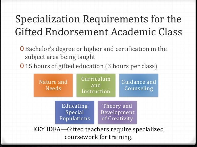 gifted education coursework Office of higher education and teacher certification  academically gifted add-on: academically gifted  graduate hours of prescribed coursework.