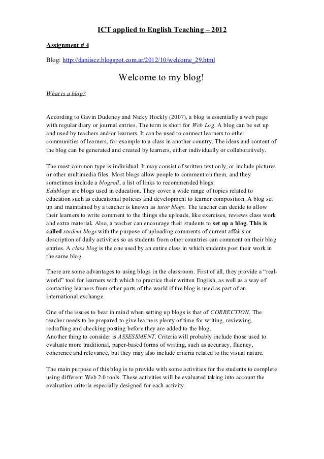 ICT applied to English Teaching – 2012Assignment # 4Blog: http://daniiscz.blogspot.com.ar/2012/10/welcome_29.html         ...