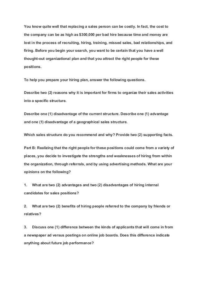 Assignment for sales management