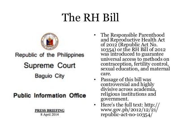 responsible parenthood and reproductive health act of 2012 essay What is the importance of studying constitution  our legislators act as if they are kings,  the responsible parenthood and reproductive health act of 2012.