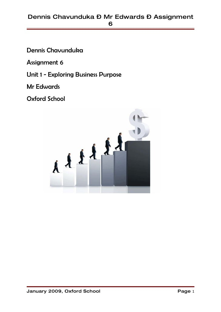 Dennis Chavunduka – Mr Edwards – Assignment                      6    Dennis Chavunduka Assignment 6 Unit 1 - Exploring Bu...