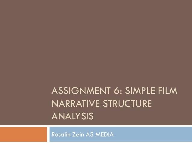 ASSIGNMENT 6: SIMPLE FILMNARRATIVE STRUCTUREANALYSISRosalin Zein AS MEDIA