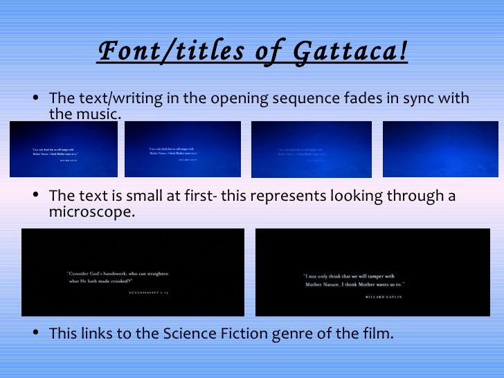 gattaca analysis film text Text new page (beta) portuguese (pdf)  for later analysis and synthesis of the synoptic articles a figure was  relembram que no início do filme gattaca,.