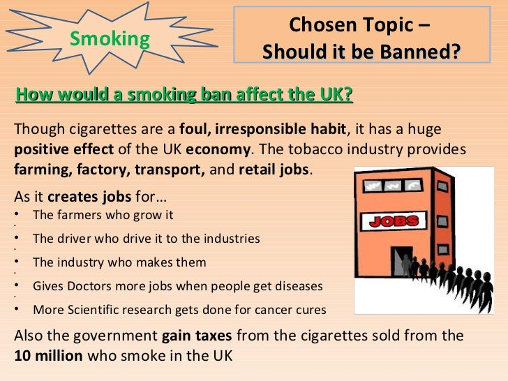 topic sentence of should cig smoking be banned Thesis statement smoking cigarettes is harmful to your health topic sentences 1 from english 101 at drexel university.