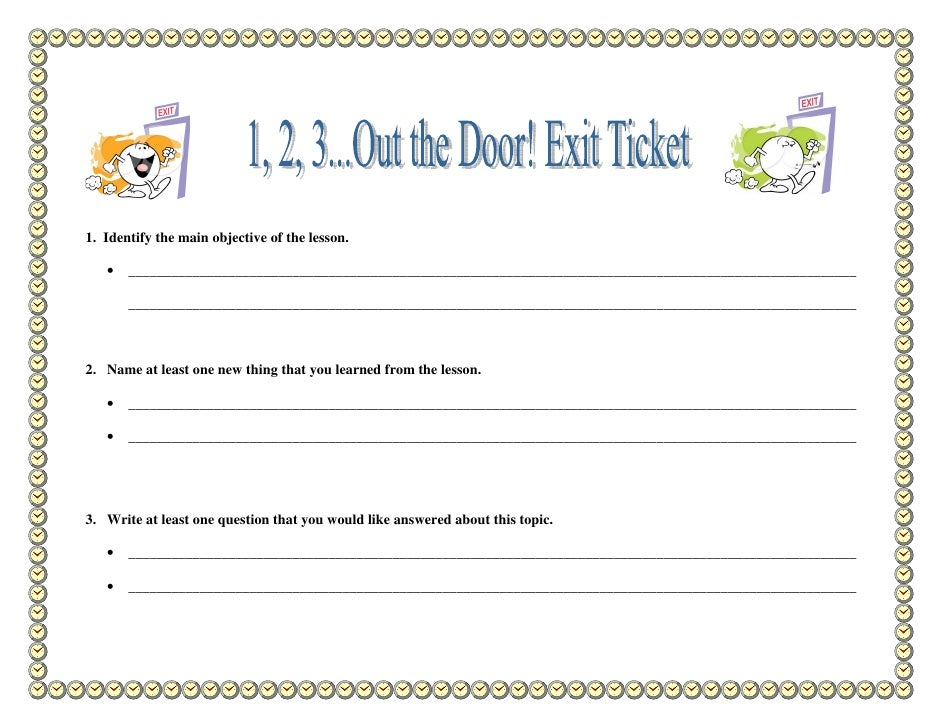 photograph about Exit Tickets Printable named Exit Ticket