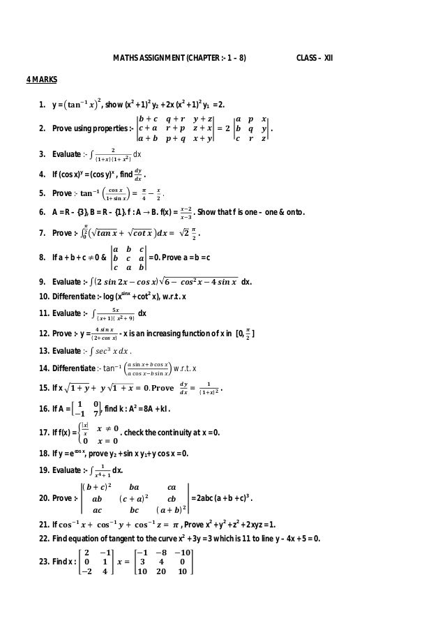 Assignment Chapters 1 -8- Maths (CLASS XII)