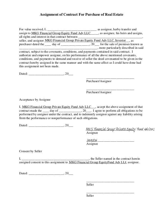Assignment Contract Purchase Real Estate
