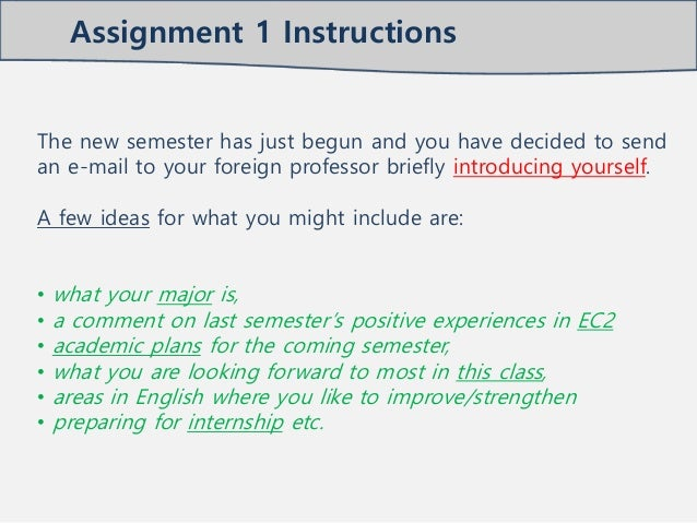 Assignment email to_professor