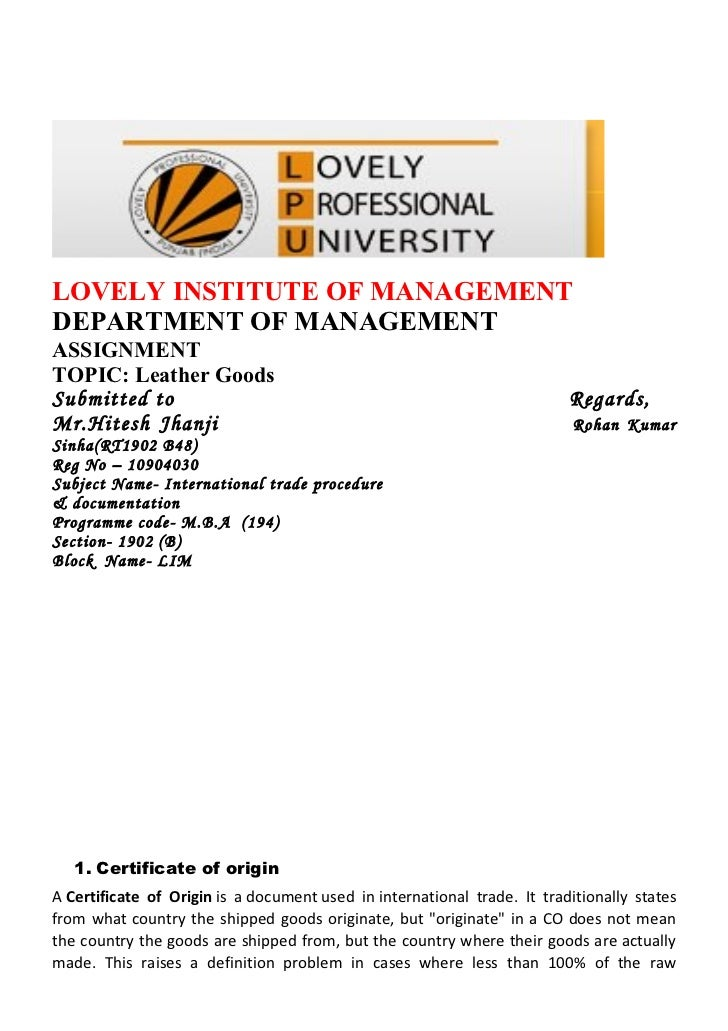 LOVELY INSTITUTE OF MANAGEMENTDEPARTMENT OF MANAGEMENTASSIGNMENTTOPIC: Leather GoodsSubmitted to                          ...