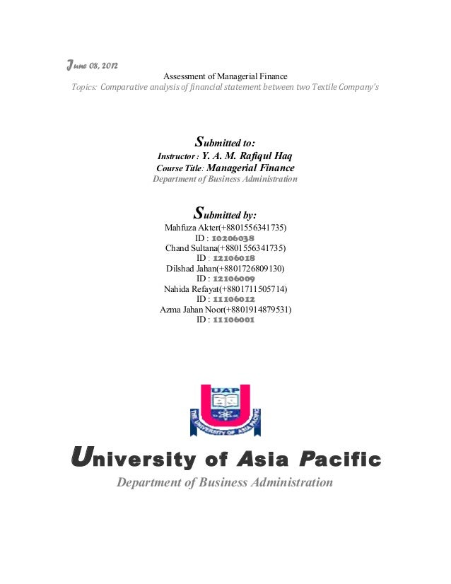 June 08, 2012                        Assessment of Managerial Finance Topics: Comparative analysis of financial statement ...