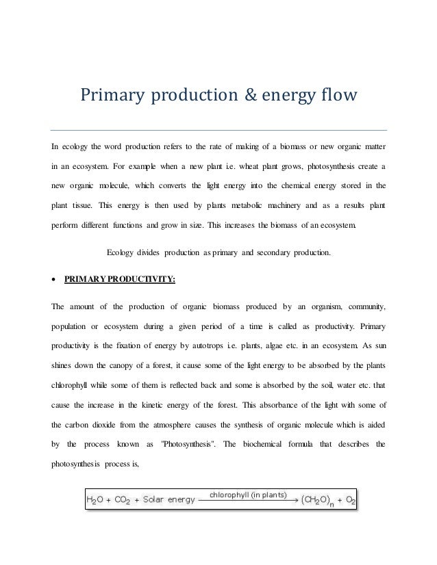 Primary and secondary production landscape ecology and ecological mo – Energy Flow in Ecosystems Worksheet