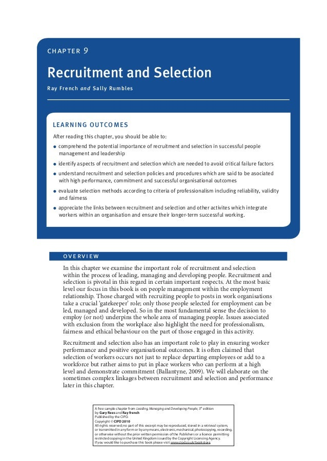 chapter 9  Recruitment and Selection Ray F ren c h a n d Sa lly R u m b le s  LEA RN ING OU TC OMES After reading this cha...