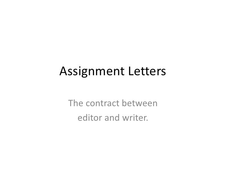 Assignment Lettersbr The Contract Between Br