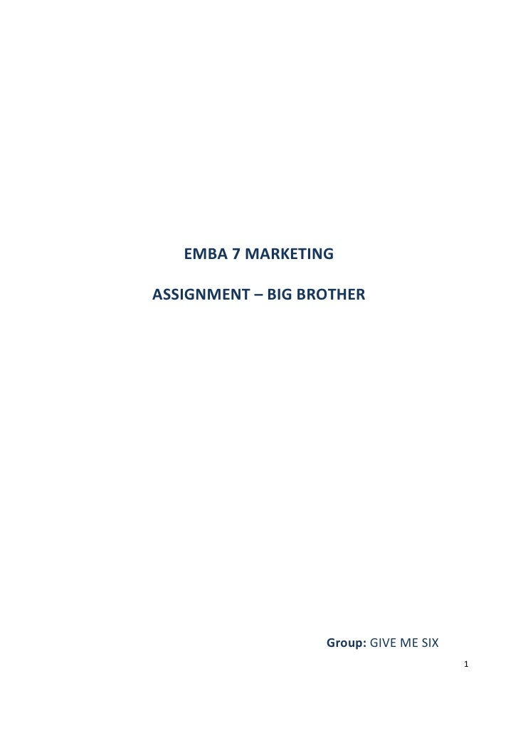 Assignment Marketing   Big Brother